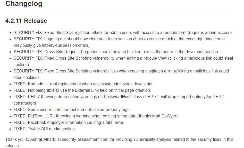 BigTree CMS 4.2.11 erschienen - Bugfixes und Sicherheitsupdates