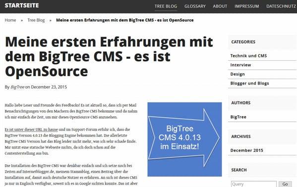 BigTree CMS Upgrade von 4.0.13 auf 4.2.8 erfolgreich durchgeführt