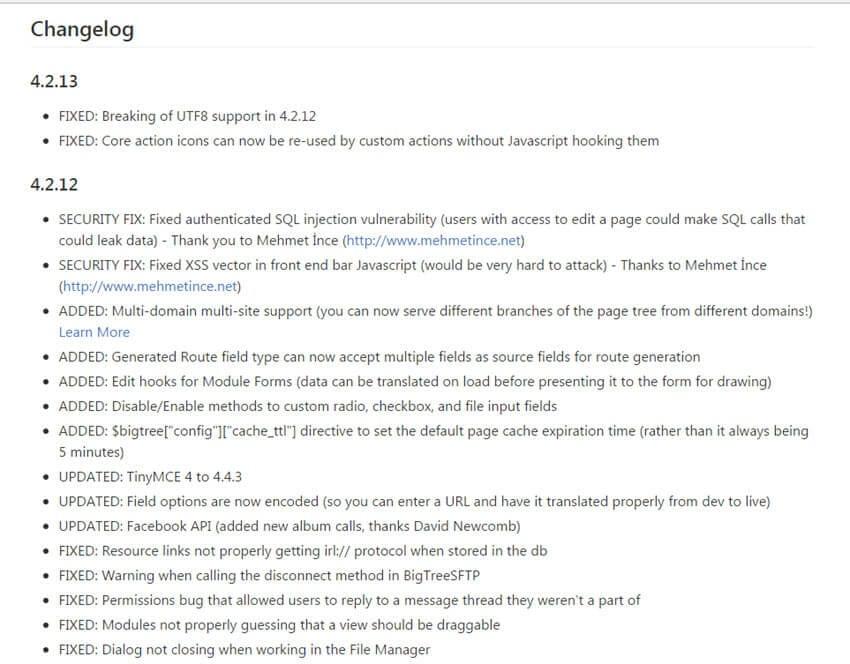 BigTree CMS 4.2.13 erschienen mit Bugfixes