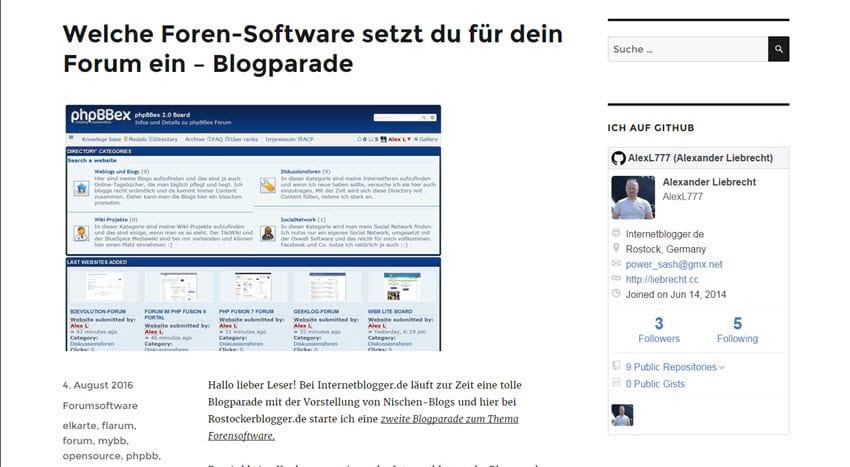 Neue Blogparade: Ich frage nach der Forensoftware - Rostockerblogger.de