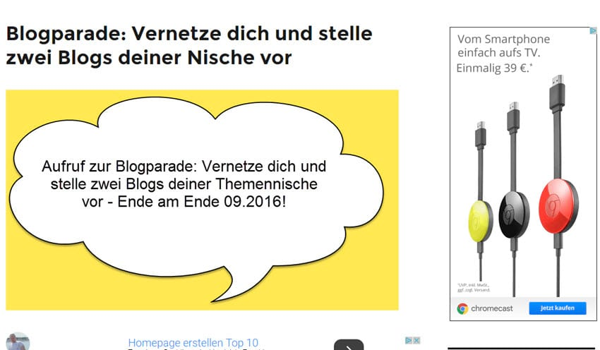 Erinnerung an die Blogparade: Vernetze dich und stelle 2 fremde Nischenblogs vor