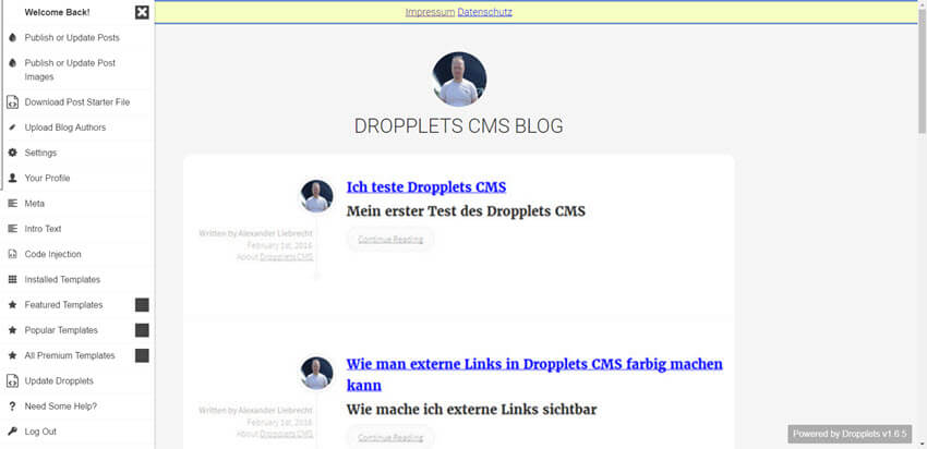 dropplets-cms-backend-links-frontend-rechts-internetblogger-de-erfahrungen