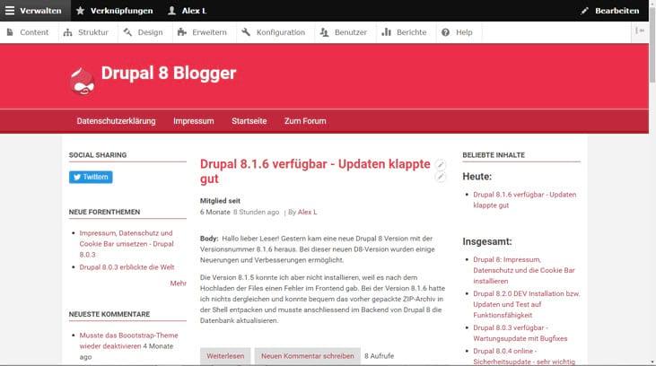 Drupal 8.1.7 online - Sicherheit und Wartung - empfohlen