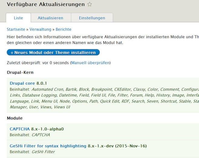 Wichtiges Update: Drupal 8.0.1 erschienen mit zahlreichen Bugfixes