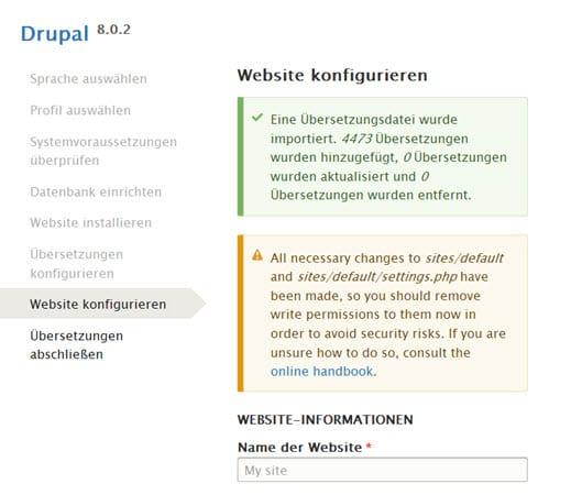 Installation von Drupal 8.0.2 verlief mit vielen Problemen