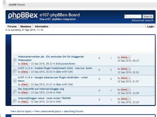 phpBBex 2.0.3 Forum verfügbar und man sollte aktualisieren