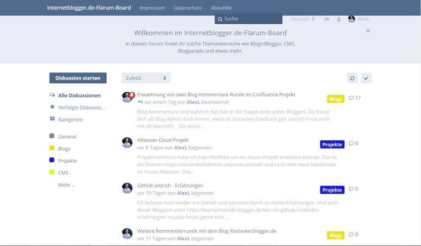 Flarum-Forum: Statische Seiten und Links im Header einbinden