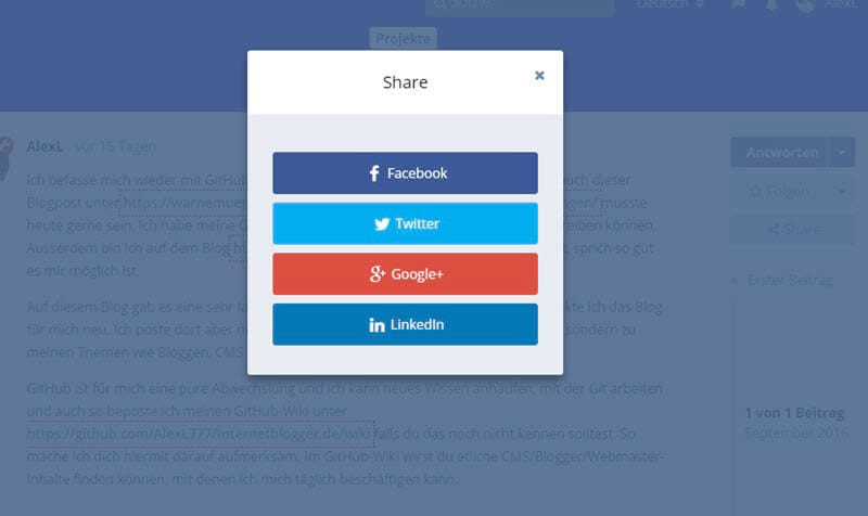 Social Share Buttons im Flarum Forum: Google Plus, Facebook, Twitter und Co.
