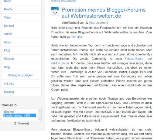 impresscms-modul-imblogging-artikel-frontend