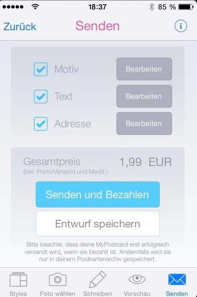 MyPostcard App bezahlen