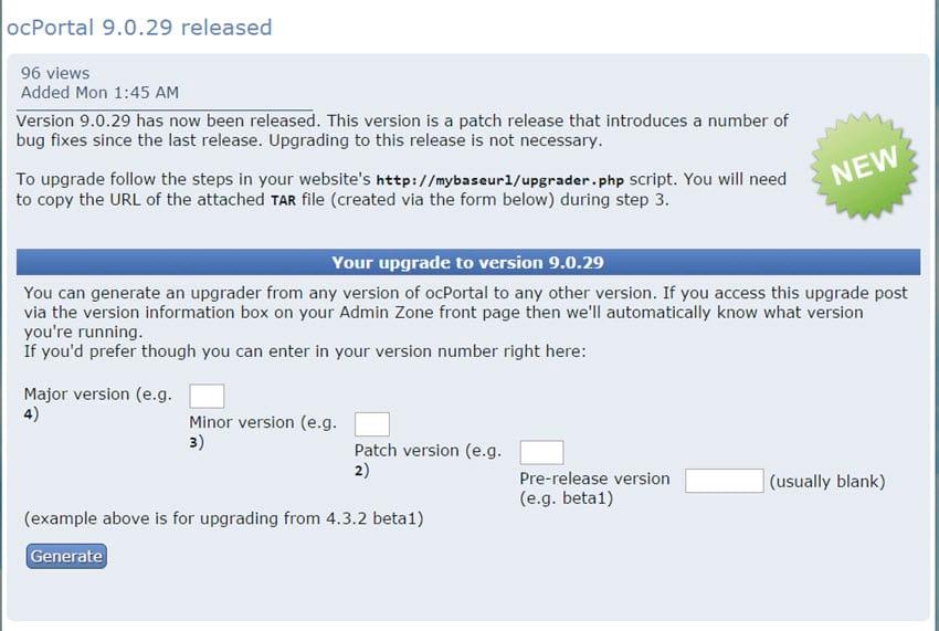 ocPortal 9.0.29 CMS erschienen - Wartungsupdate