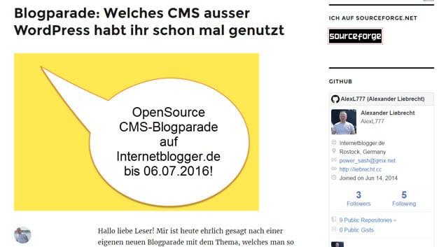 Auswertung der grossen OpenSource CMS-Blogparade - Ende heute anstatt am 06.07.2016