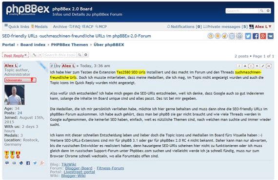 Aktuelle Updates von phpBBex 2.0.1 und phpBB 3.1.6 - updaten empfohlen