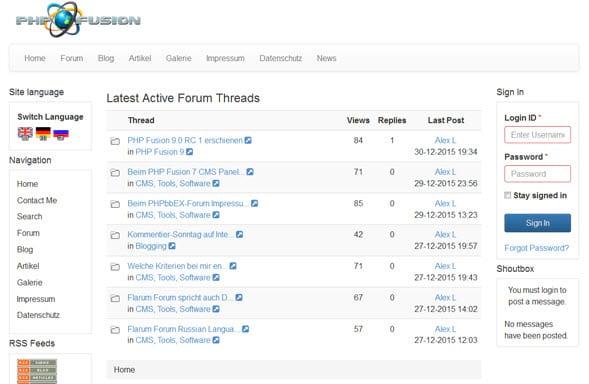 PHP Fusion 9.0 RC 3 online - updaten empfohlen - Bugfixes