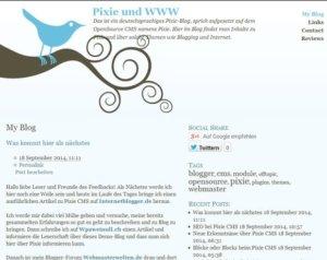 Pixie Blog im Frontend
