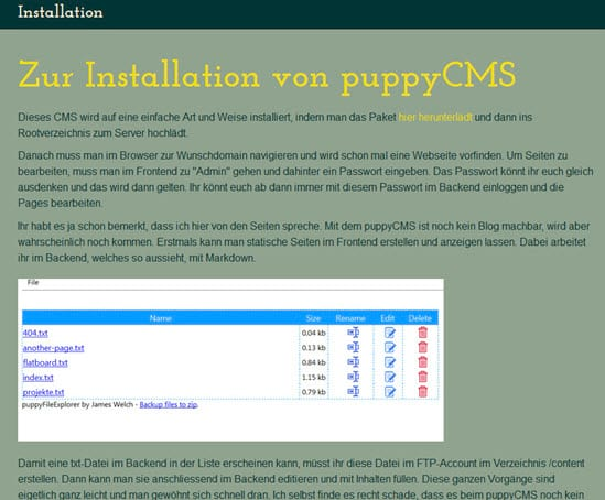 Static Page Generator Puppy CMS in Version 2.0 erschienen