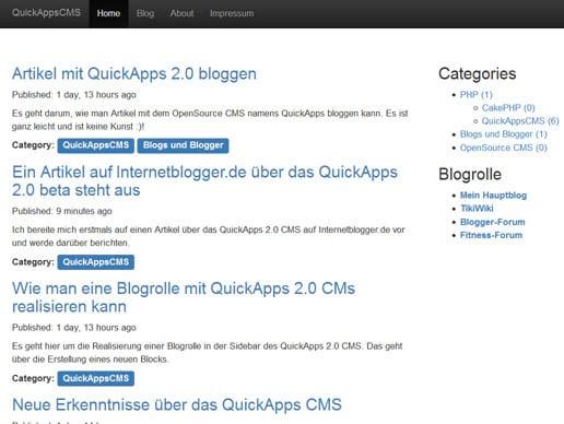 Meine Erfahrungen mit dem neuen CMS namens QuickApps 2.0 Beta