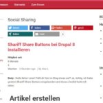 Drupal 8: Shariff Share Buttons und Cookie Bar installieren