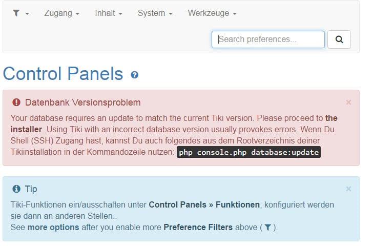 tikiwiki-16-datenbank-update-via-kommandozeile