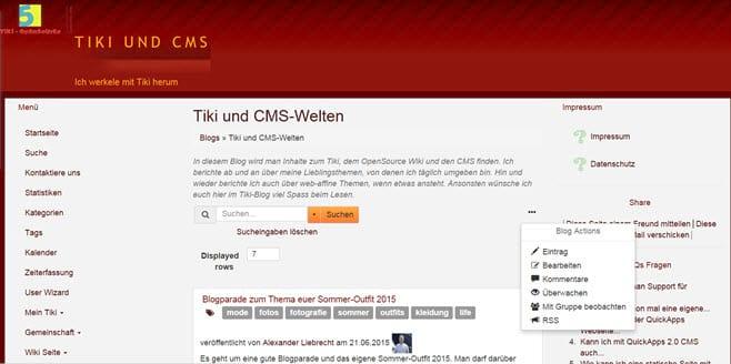 Meine Fortschritte mit dem TikiWiki - einer guten PHP-Wiki-Software