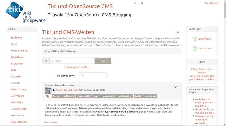 TikiWiki 16 als Entwicklerversion verfügbar - Updaten klappte