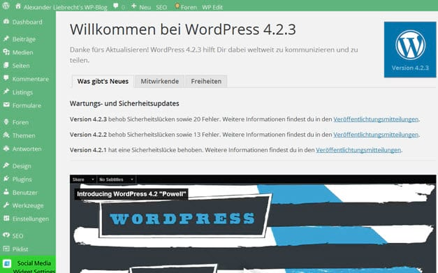 Wordpress 4.2.3 - Sicherheitsupdate und Wordpress 4.3 beta 4