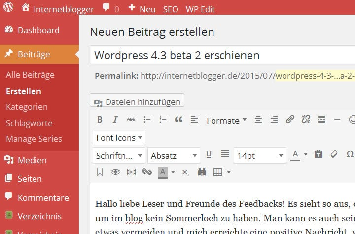 Wordpress 4.3 beta 2 erschienen