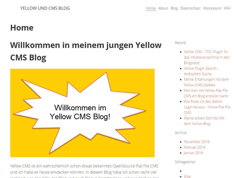 Yellow CMS - RSS-Feed Plugin installieren