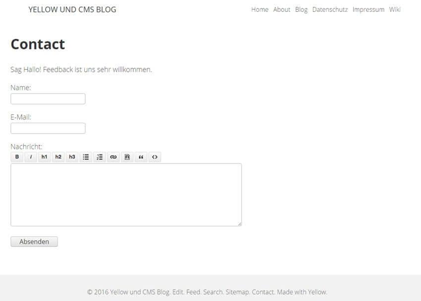 Yellow CMS: Realisieren einer Kontakt-Seite im Yellow-Blog