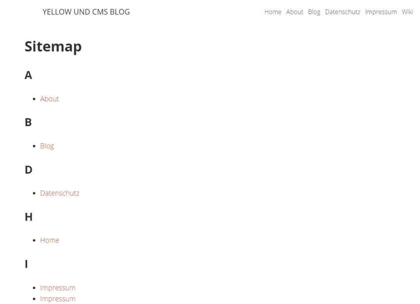 Yellow CMS - Sitemap Plugin installieren