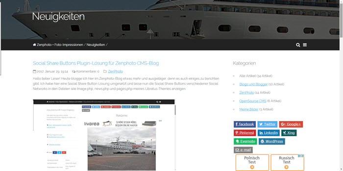 Zenphoto News-Startseite