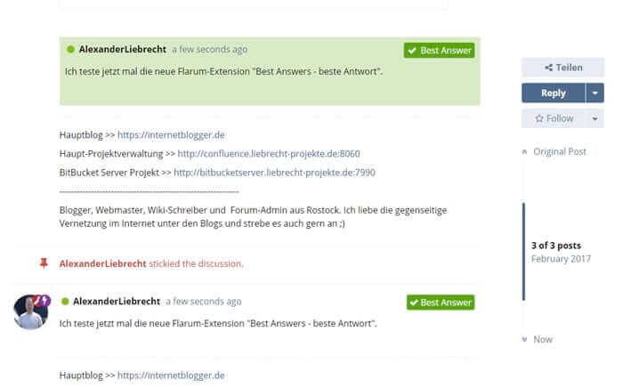 Neue Flarum Erweiterung - Best Answer - Beste Antwort unter dem Forum-Post