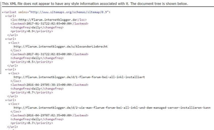 Flarum-Forum: Sitemap-Erweiterung installieren - wie geht das?