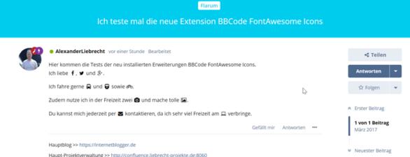 Neue Flarum Erweiterung BBCode FontAwesome Icons