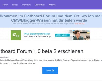 Flatboard 1.0 Beta 2 Forum erschienen - Bugfixes, BBCode-Editor und mehr