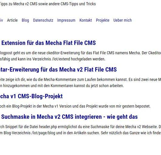 Entwicklung des Flat File CMS namens Mecha v2
