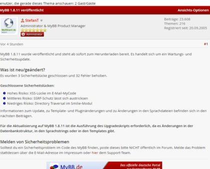 MyBB 1.8.11 erschienen - Sicherheits-Wartungsupdate