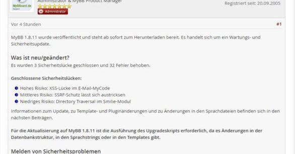 MyBB 1.8.11 erschienen – Sicherheits-Wartungsupdate