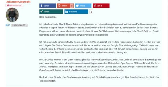 Shariff Share Buttons im Flatboard Forum realisieren