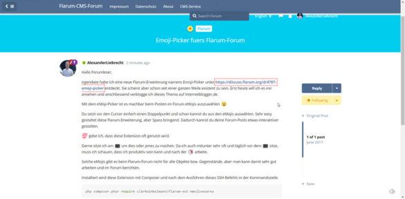 Flarum-Erweiterung eMoji-Picker Installation und Handhabung