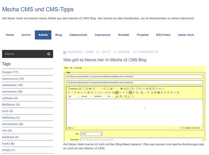 Support-Quellen fürs Mecha v2 Flat File CMS