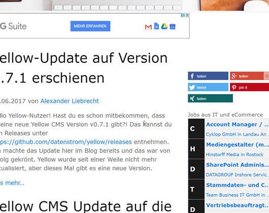 Shariff Share Buttons beim Flat File CMS Yellow einbinden und installieren