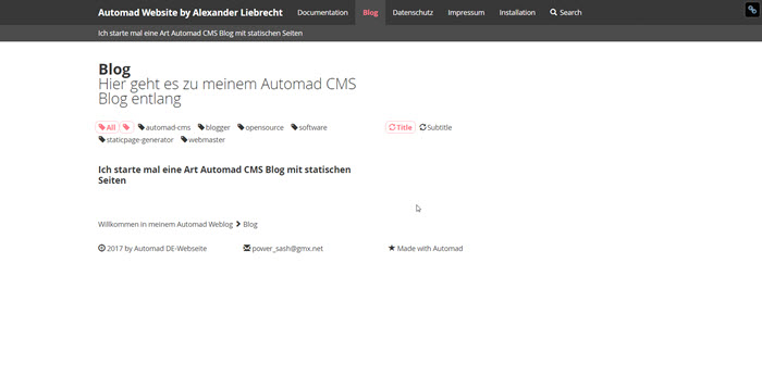 Automad Static Page Generator im Frontend