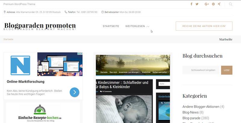 Blogparaden-Promotion.de - Blogparaden-Blog auf der Startseite