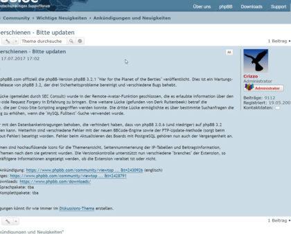 PHPBB 3.2.1 zwecks Wartung und mehr Sicherheit erschienen - Updaten empfohlen