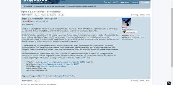 PHPBB 3.2.1 zwecks Wartung und mehr Sicherheit erschienen – Updaten empfohlen