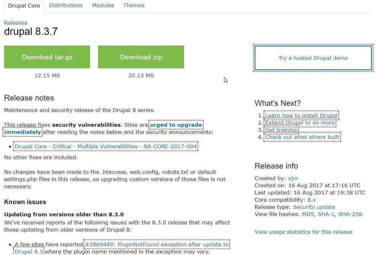 Drupal 8.3.7 als Wartungs-Sicherheitsupdate erschienen