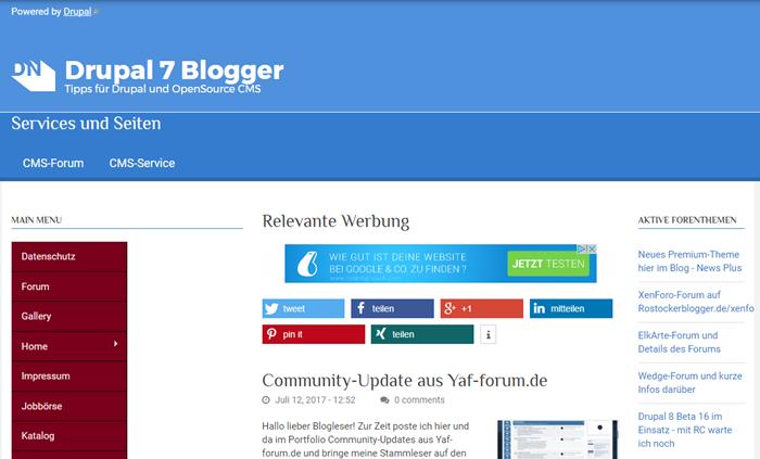 Drupal7blogger.de auf der Startseite im Blog