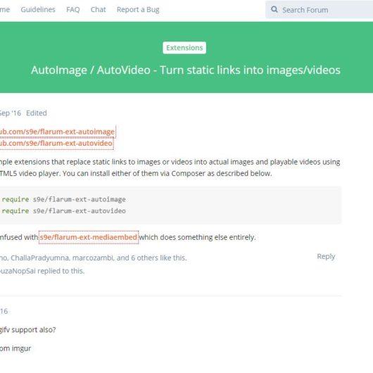 #Flarum #Erweiterungen: AutoImage und s9e/mediaembed