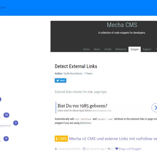 Flatboard Forum und Mecha v2 CMS: externe Links auf noFollow umstellen - wie geht das?